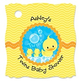 Twin Ducky Ducks   - Personalized Baby Shower Tags - 20 Count