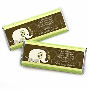 Twin Baby Elephants - Personalized Baby Shower Candy Bar Wrapper Favors