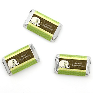 Twin Baby Elephants - Personalized Baby Shower Mini Candy Bar Wrapper Favors - 20 ct
