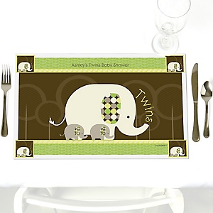 Twin Baby Elephants - Personalized Baby Shower Placemats