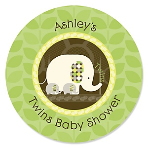 Twin Baby Elephants - Personalized Baby Shower Sticker Labels - 24 ct