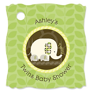 Twin Baby Elephants  - Personalized Baby Shower Tags - 20 Count