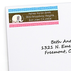Twin Baby Elephants 1 Blue & 1 Pink - Personalized Baby Shower Return Address Labels - 30 ct