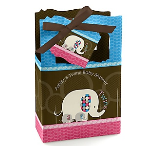 Twin Baby Elephants 1 Blue & 1 Pink - Personalized Baby Shower Favor Boxes