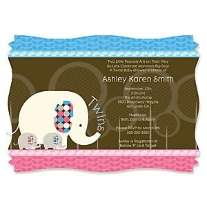 Twin Baby Elephants 1 Blue & 1 Pink - Personalized Baby Shower Invitations