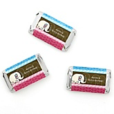Twin Baby Elephants 1 Blue & 1 Pink - Personalized Baby Shower Mini Candy Bar Wrapper Favors - 20 ct
