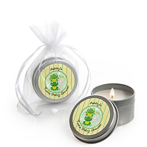 Twin Froggy Frogs - Candle Tin Personalized Baby Shower Favors