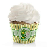 Twin Froggy Frogs - Baby Shower Cupcake Wrappers & Decorations