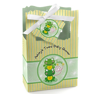 Twin Froggy Frogs - Personalized Baby Shower Favor Boxes
