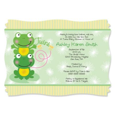 Twin Froggy Frogs Personalized Baby Shower Invitations