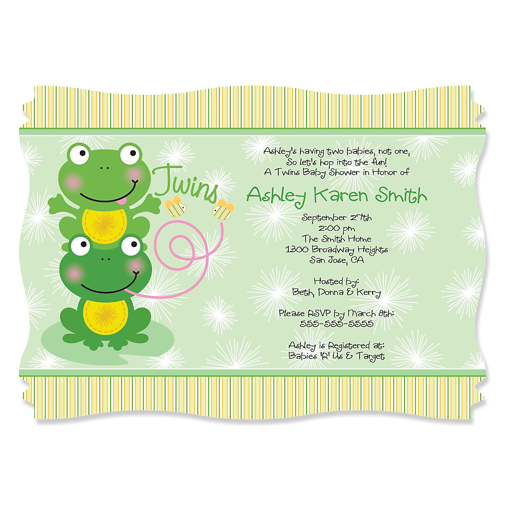 Twin Froggy Frogs - Personalized Baby Shower Invitations ...
