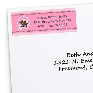 Twin Girl Baby Carriages - Personalized Baby Shower Return Address Labels - 30 ct