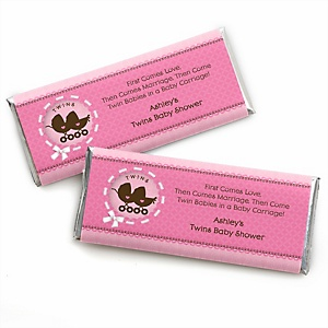 Twin Girl Baby Carriages - Personalized Baby Shower Candy Bar Wrapper Favors