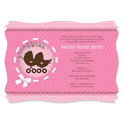 Exceptional Twin Girl Baby Carriages   Personalized Baby Shower Invitations