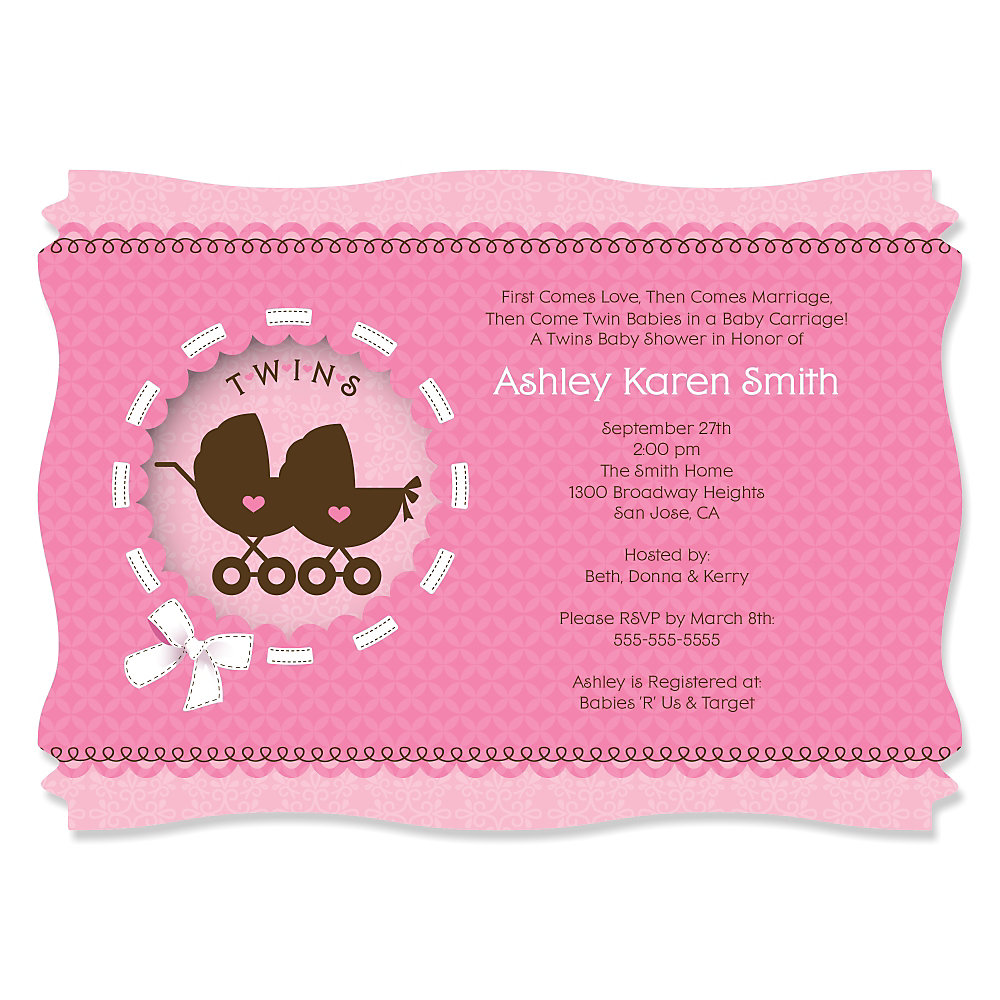 Twin Girl Baby Carriages - Personalized Baby Shower Invitations ...