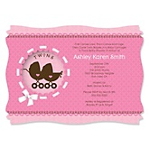 Twin Girl Baby Carriages - Personalized Baby Shower Invitations