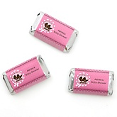 Twin Girl Baby Carriages - Personalized Baby Shower Mini Candy Bar Wrapper Favors - 20 ct