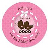 Twin Girl Baby Carriages - Personalized Baby Shower Sticker Labels - 24 ct