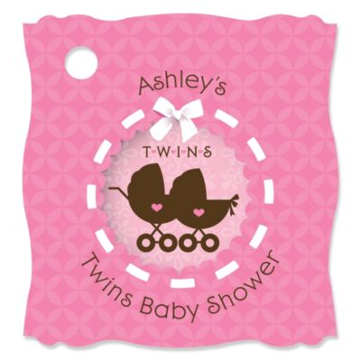 Twin Girl Baby Carriages   Personalized Baby Shower Tags   20 Count