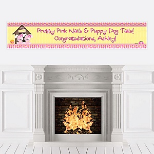 Twin Girl Puppy Dogs - Personalized Baby Shower Banners