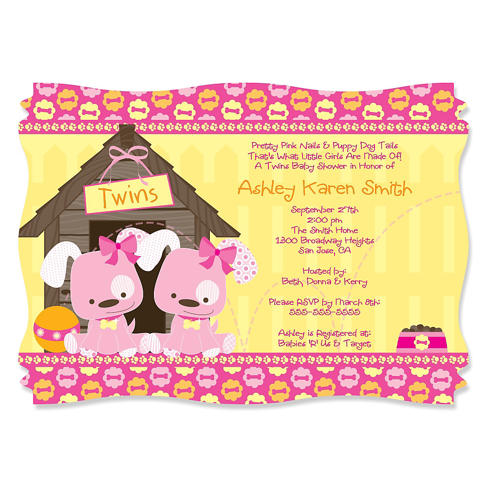 Twin Girl Puppy Dogs - Personalized Baby Shower Invitations ...