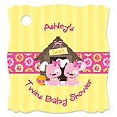 Twin Girl Puppy Dogs   - Personalized Baby Shower Tags - 20 Count
