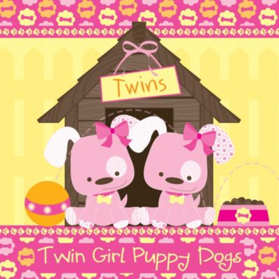 Twin Girl Puppy Dogs   Baby Shower Theme