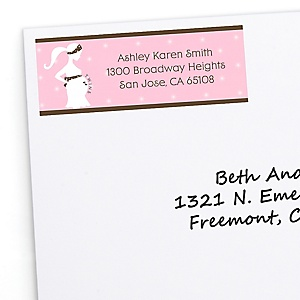 Mommy Silhouette It's Twin Girls - Personalized Baby Shower Return Address Labels - 30 ct