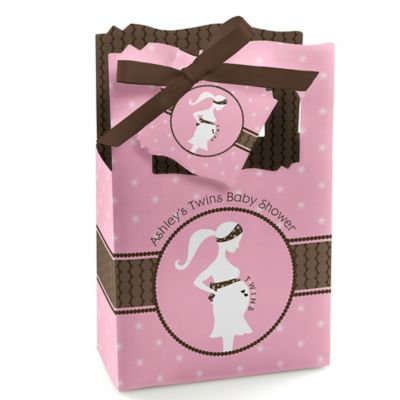 Mommy Silhouette Itu0027s Twin Girls   Personalized Baby Shower Favor Boxes