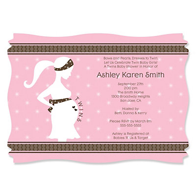 mommy silhouette it's twin girls - personalized baby shower, Baby shower invitations