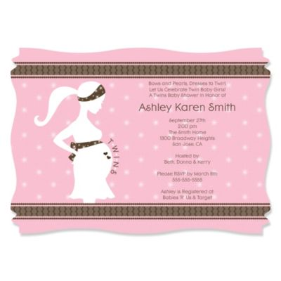 Mommy Silhouette Itu0027s Twin Girls   Personalized Baby Shower Invitations