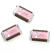 Mommy Silhouette It's Twin Girls - Personalized Baby Shower Mini Candy Bar Wrapper Favors - 20 ct