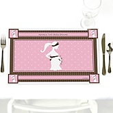 Mommy Silhouette It's Twin Girls - Personalized Baby Shower Placemats