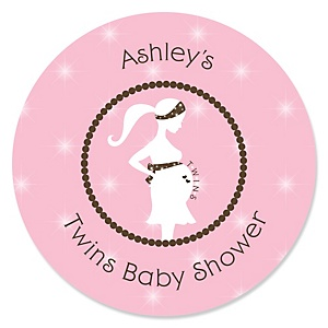 Mommy Silhouette It's Twin Girls - Personalized Baby Shower Sticker Labels - 24 ct