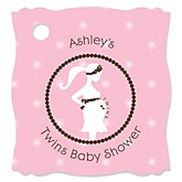 Mommy Silhouette It's Twin Girls - Personalized Baby Shower Tags - 20 Count