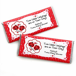 Twin Modern Ladybugs - Personalized Baby Shower Candy Bar Wrapper Favors