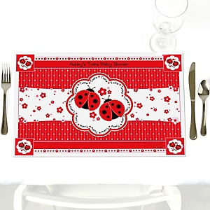 Twin Modern Ladybugs - Personalized Baby Shower Placemats