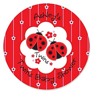 Twin Modern Ladybugs - Personalized Baby Shower Sticker Labels - 24 ct