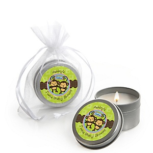 Twin Monkeys 1 Boy & 1 Girl - Candle Tin Personalized Baby Shower Favors