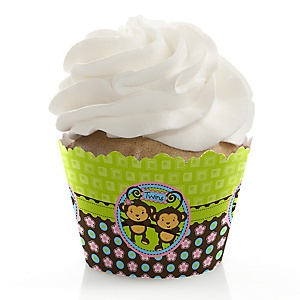 Twin Monkeys 1 Boy & 1 Girl - Baby Shower Cupcake Wrappers & Decorations