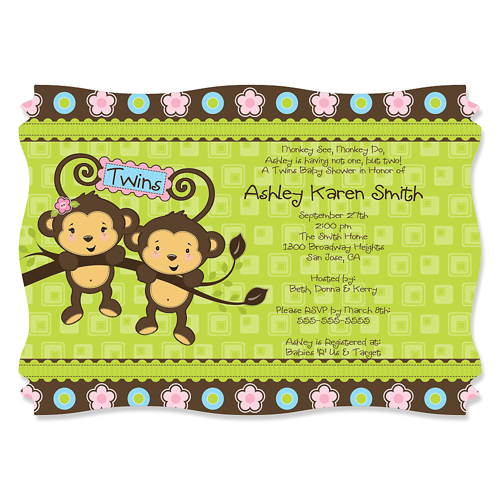 Twin monkeys 1 boy 1 girl personalized baby shower invitations loading filmwisefo Image collections