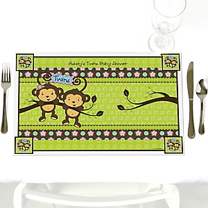 Twin Monkeys 1 Boy & 1 Girl - Personalized Baby Shower Placemats