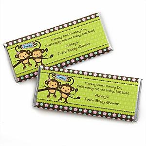 Twin Monkeys 1 Boy & 1 Girl - Personalized Baby Shower Candy Bar Wrapper Favors