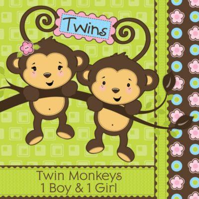 Delightful Twin Monkeys 1 Boy U0026 1 Girl   Baby Shower Theme