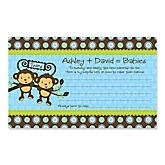 Blue Twin Monkey Boys - Personalized Baby Shower Helpful Hint Advice Cards - 18 ct.