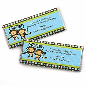 Blue Twin Monkey Boys - Personalized Baby Shower Candy Bar Wrapper Favors