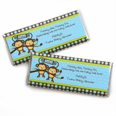 Blue Twin Monkey Boys   Personalized Baby Shower Candy Bar Wrapper Favors
