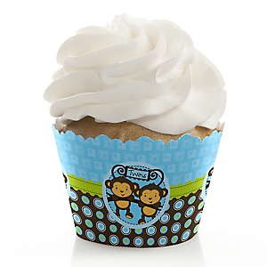 Blue Twin Monkey Boys - Baby Shower Cupcake Wrappers & Decorations