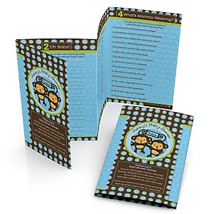 Blue Twin Monkey Boys - Personalized Baby Shower Fabulous 5 Games