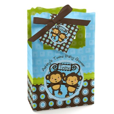 Blue Twin Monkey Boys   Personalized Baby Shower Favor Boxes